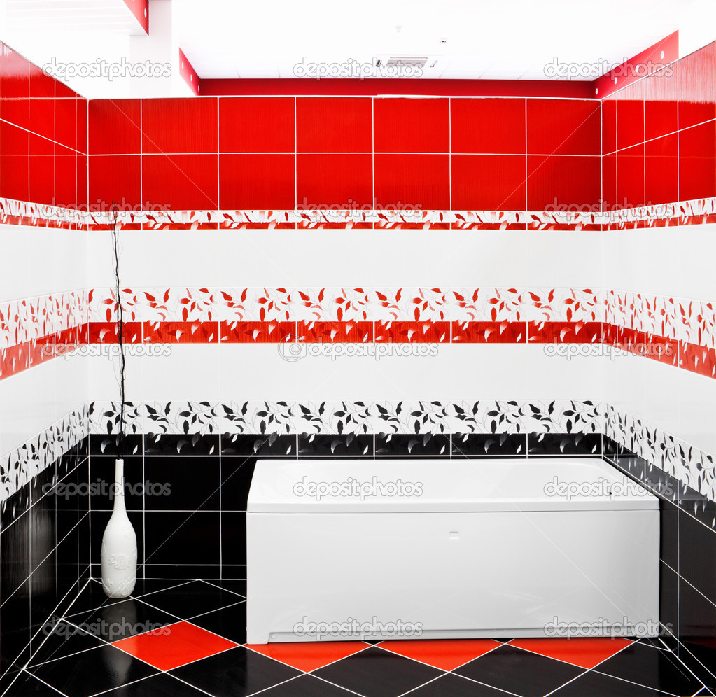 Moderne betegelde badkamer stockfoto jordan rusev 5888880 - Betegelde rode badkamer ...
