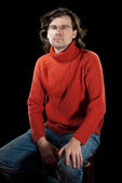 Man in red sweater. — Foto de Stock
