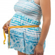 Pregnant woman measures her belly — Stock Photo