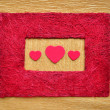 Valentine love heart inside red color frame border - Stock Photo
