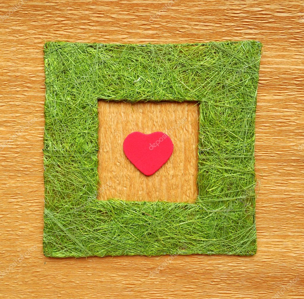 Valentine love heart on crepe paper inside Green grass color frame border made from threads texture.  — Stock Photo #5402741