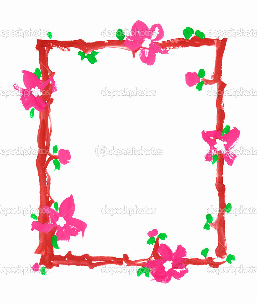 Flowers frame border paper paint sketch | Stock Photo © Ksenia [main]