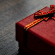 Gift box on table close-up abstract — Stock Photo