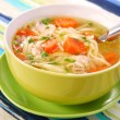 Chicken soup with noodle - Stock Photo