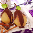 Poached pears with chocolate — Stock Photo