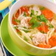 Chicken soup with noodle for child — Stock Photo #5426142