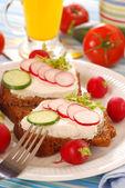 Healthy spring breakfast — Stock Photo