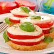 Breakfast with mozzarella and tomato — Stock Photo #5521637
