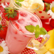 Strawberry and banana milkshake — Stock Photo