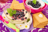 Semolina dessert with blueberry for baby — Stock Photo