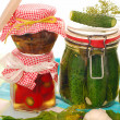Jars of homemade vegetable preserves — Stock Photo