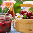 Stock Photo: Cherry preserves in the garden