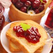 Toast with cherry confiture — Stock Photo #6110037