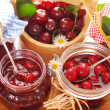 Stock Photo: Jars of cherry preserves