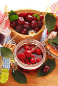Jar of cherry compote — Stock Photo