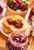 Toast with cherry confiture — Stock Photo