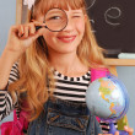 školačka v učebně — Stock fotografie