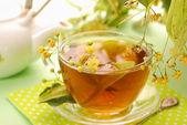 Linden tea in glass — Stock Photo