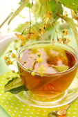Linden tea in glass — Stock Photo
