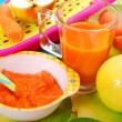 Stock Photo: Carrot and apple puree for baby