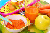 Carrot and apple puree for baby — Stock fotografie