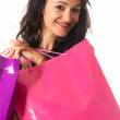 Young woman with shopping bags close-up isolated on white background — Stock Photo #5822912