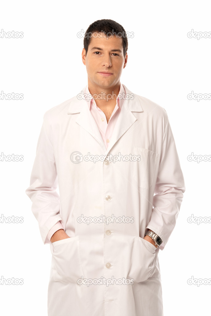 Doctor smile hands on pockets isolated on white background — Foto de Stock   #5822884