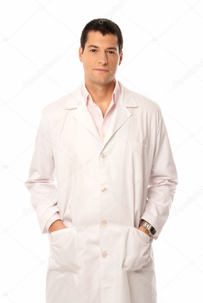 Doctor smile hands on pockets isolated on white background — Lizenzfreies Foto #5822884