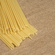 Pasta on sacking - Stock Photo