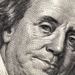 Royalty-Free Stock Photo: Benjamin Franklin portrait from 100 dollars banknote