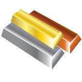 Metalen bullions — Stockvector