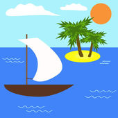 Boat and desert island with two palms — Stock Vector