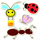 Set of vector insect stickers — Stock Vector