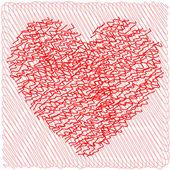 Scribbled heart — Stock Vector