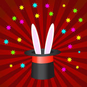 Magic hat with bunny ears — Stock Vector