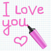 I love you text written using pink marker — Stock Vector