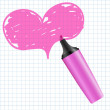 Heart drawn using a marker — Stock Vector
