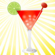 Red tropical cocktail with ice and lime — Stock Vector