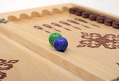 Classic wood backgammon box, isolated — Stock Photo