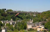 The Grande-Duchesse Charlotte bridge (Red bridge), Luxemburg cit — Stock Photo