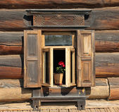Traditional old russian window — Stock Photo