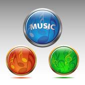 Musikaliska symboler ikonen vektor — Stockvektor