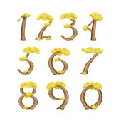 Numbers in the form of a tree — Stock Vector