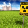 Radioactivity Sign And Nuclear Power Plant - Stock Photo
