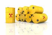 Stack Of Radioactive Barrels — Stock Photo