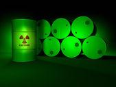 Green Radioactive Barrels — Stock Photo
