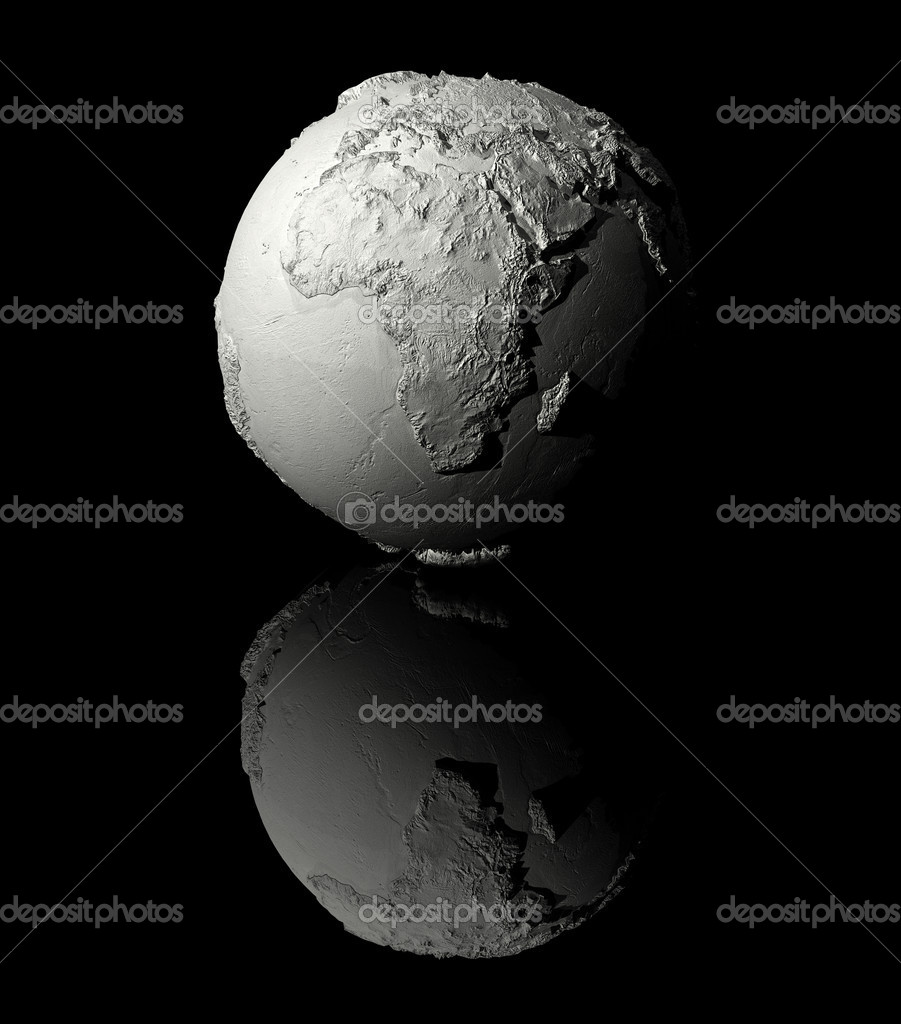 Realistic model of planet earth on black background, africa, 3d render — Stock Photo #5853644