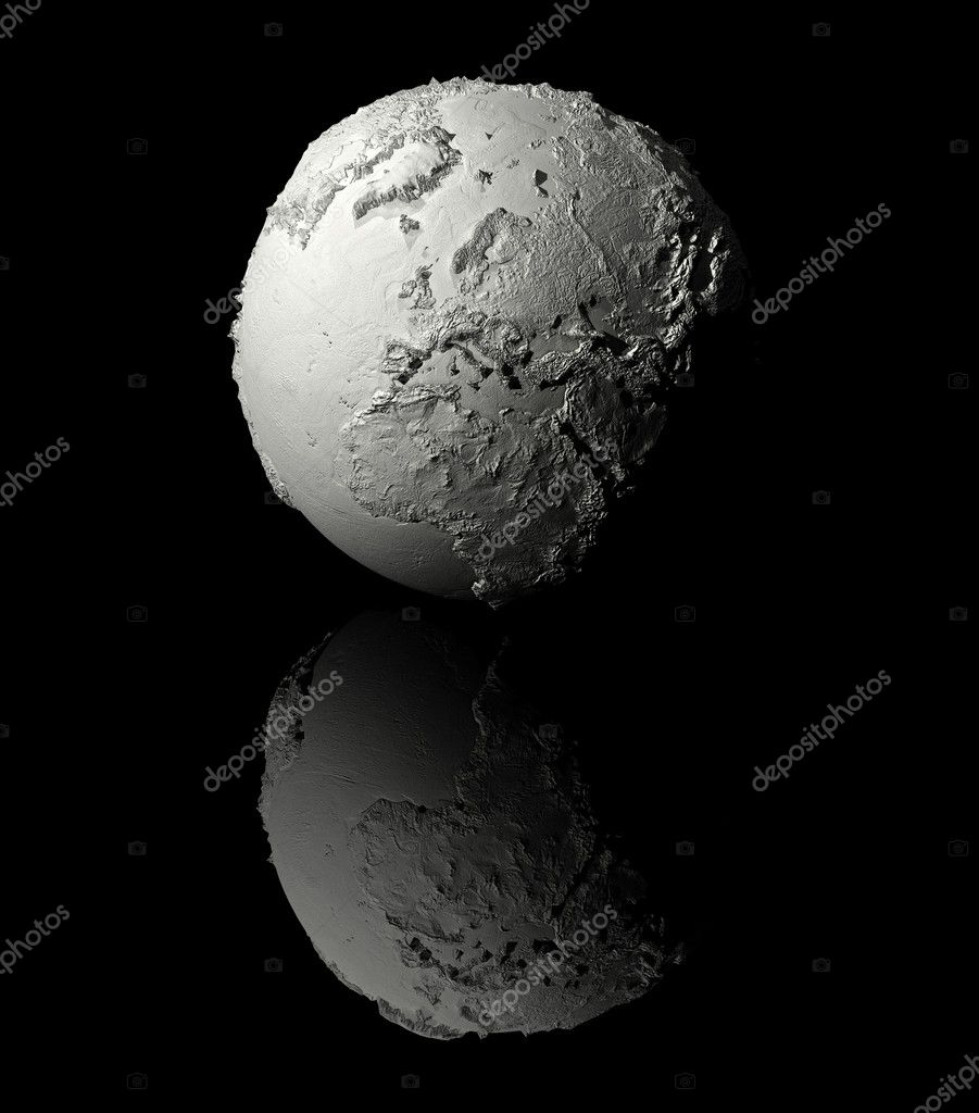 Realistic model of planet earth on black background, europe, 3d render — Stock Photo #5853652