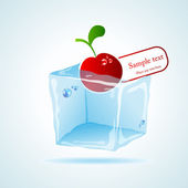 Cherry ice cube — Stockvector
