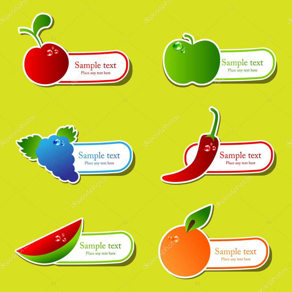 Vector fruit sticker set  Stock Vector #5522733